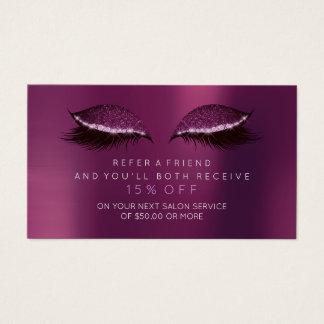 Salon Referral Card Purple Plum Amethyst Lashes