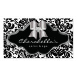 Salon Spa Business Card Silver Bow Jewel Damask