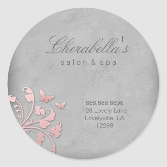 Salon spa butterfly floral sticker pink grey 2