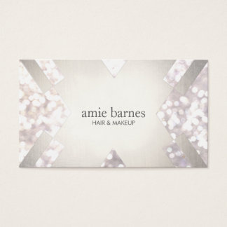 Salon & Spa Festive White Bokeh Silver Geometric Business Card