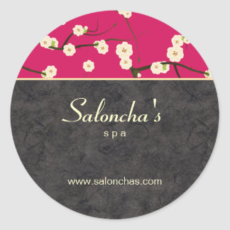 Salon spa floral cherry blossom sticker hot pink