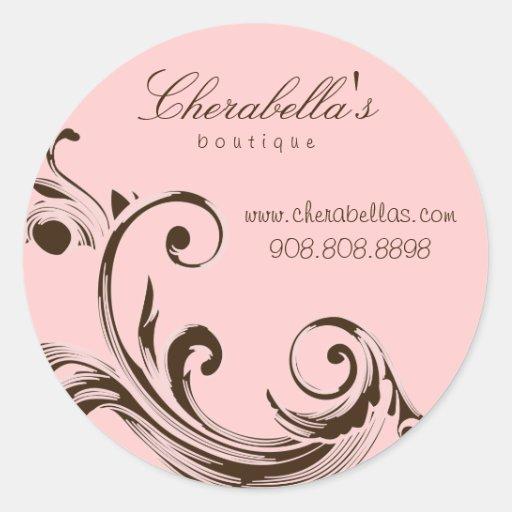 Salon spa floral sticker swirl pink brown