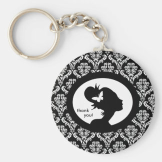 Salon Spa Key Chain Butterfly Woman Silhouette