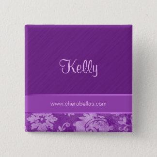 Salon Spa Name Tag Button Brooch damask purple