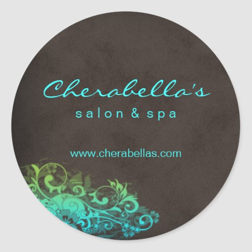 Salon Spa Sticker Turquoise Blue Green Brown