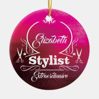 Salon Stylist Hairdresser Monogram Modern Pink Ceramic Ornament