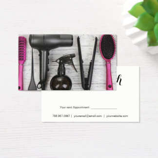 Salon Tools Pink and Black Photo Business Card