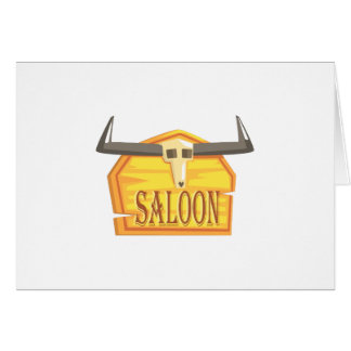 Saloon Sign With Dead Head Drawing Isolated On Whi Card