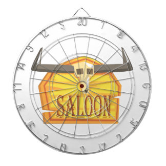 Saloon Sign With Dead Head Drawing Isolated On Whi Dartboard
