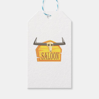 Saloon Sign With Dead Head Drawing Isolated On Whi Gift Tags
