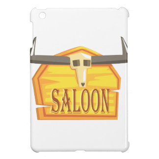 Saloon Sign With Dead Head Drawing Isolated On Whi iPad Mini Cover
