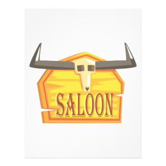 Saloon Sign With Dead Head Drawing Isolated On Whi Letterhead