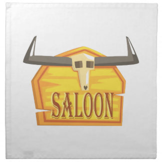 Saloon Sign With Dead Head Drawing Isolated On Whi Napkin