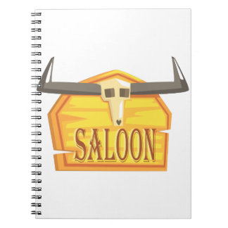 Saloon Sign With Dead Head Drawing Isolated On Whi Notebooks