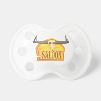 Saloon Sign With Dead Head Drawing Isolated On Whi Pacifier