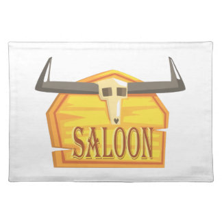 Saloon Sign With Dead Head Drawing Isolated On Whi Placemat
