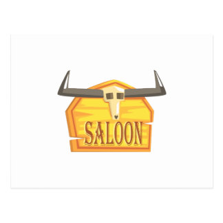 Saloon Sign With Dead Head Drawing Isolated On Whi Postcard