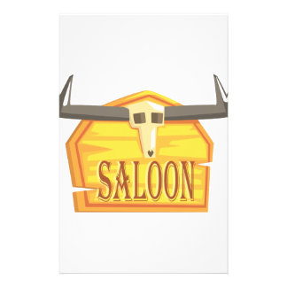 Saloon Sign With Dead Head Drawing Isolated On Whi Stationery