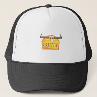 Saloon Sign With Dead Head Drawing Isolated On Whi Trucker Hat