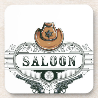 saloon vintage cowboy guns coaster