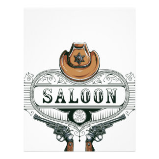 saloon vintage cowboy guns letterhead