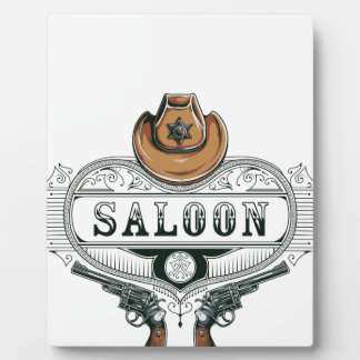 saloon vintage cowboy guns plaque