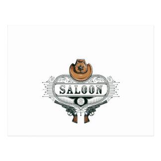 saloon vintage cowboy guns postcard