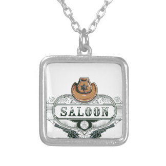 saloon vintage cowboy guns silver plated necklace