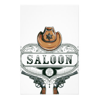 saloon vintage cowboy guns stationery