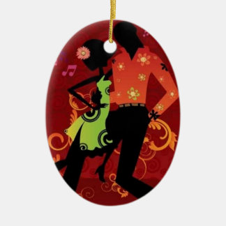 Salsa dance ceramic ornament