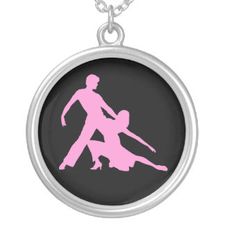 Salsa Dancers Silhouette Silver Plated Necklace
