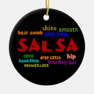 Salsa Dancing Lovers Dance Moves and Terms Ceramic Ornament