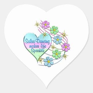 Salsa Dancing Sparkles Heart Sticker