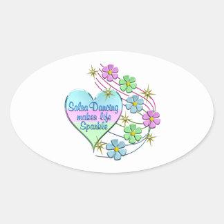 Salsa Dancing Sparkles Oval Sticker