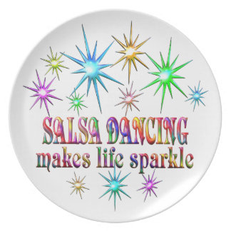 Salsa Dancing Sparkles Party Plate