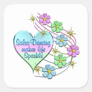 Salsa Dancing Sparkles Square Sticker