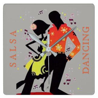 SALSA DANCING Square Wall Clock