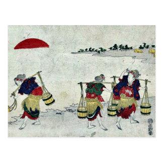 Salt gathering by Katsukawa, Shunsen Ukiyo-e. Postcard