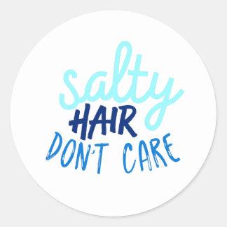 Salt Hair Don't Care Round Sticker