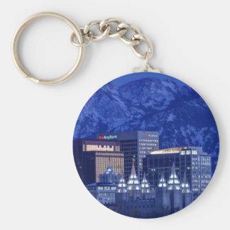 Salt Lake City Downtown Winter Skyline Basic Round Button Keychain