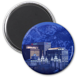 Salt Lake City Downtown Winter Skyline Magnet