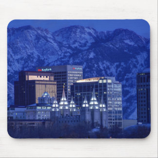 Salt Lake City Downtown Winter Skyline Mouse Pad