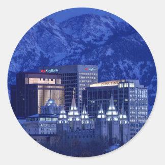 Salt Lake City Downtown Winter Skyline Round Sticker