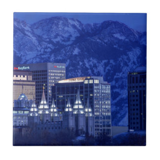 Salt Lake City Downtown Winter Skyline Tile