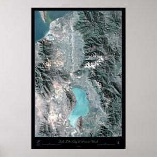 Salt Lake City & Provo, Utah satellite poster