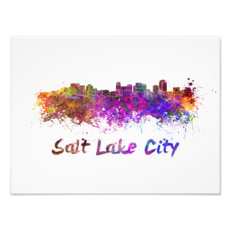 Salt Lake City skyline in watercolor Photo Print