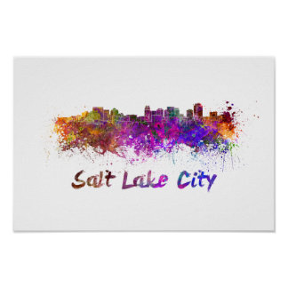 Salt Lake City skyline in watercolor Poster