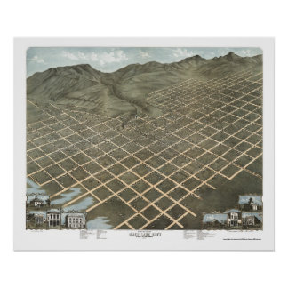 Salt Lake City, UT Panoramic Map - 1870 Poster
