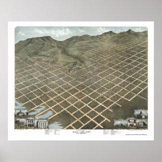 Salt Lake City, UT Panoramic Map - 1870 Poster