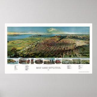 Salt Lake City, UT Panoramic Map - 1891 Poster